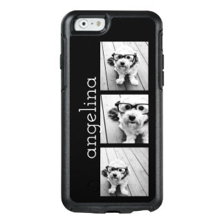 Trendy 3 Photos and Name - CHOOSE BACKGROUND COLOR OtterBox iPhone 6/6s Case