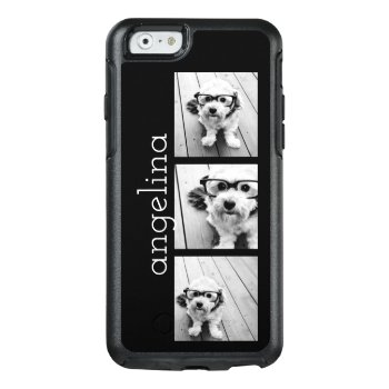Trendy 3 Photos And Name - Choose Background Color Otterbox Iphone 6/6s Case by MarshEnterprises at Zazzle
