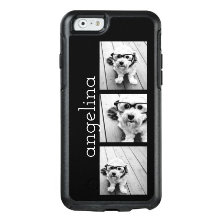 Trendy 3 Photos And Name - Choose Background Color Otterbox Iphone 6/6