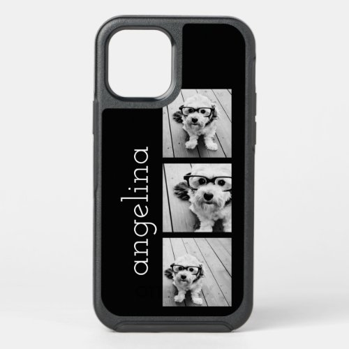 Trendy 3 Photos and Name - CHOOSE BACKGROUND COLOR Phone Case