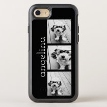 Trendy 3 Photos and Name - CHOOSE BACKGROUND COLOR OtterBox Symmetry iPhone 8/7 Case