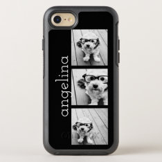 Trendy 3 Photos And Name - Choose Background Color Otterbox Symmetry Iphone 8/7 Case at Zazzle