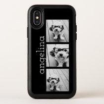 Trendy 3 Photos and Name - CHOOSE BACKGROUND COLOR OtterBox Symmetry iPhone X Case