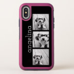 "Trendy 3 Photos and Name - CHOOSE BACKGROUND COLOR OtterBox Symmetry iPhone XS Case<br><div class=""desc"">Use 3 square photos to create a unique and personal gift. Or you can keep the hipster puppy and make a trendy keepsake. If you need to adjust the pictures,  click on the customize tool to make changes.</div>"