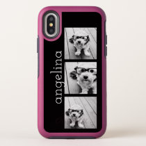 Trendy 3 Photos and Name - CHOOSE BACKGROUND COLOR OtterBox Symmetry iPhone XS Case