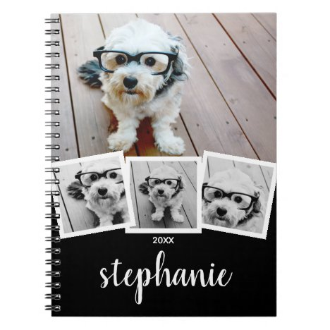 Trendy 4 Photo Collage Script Name White Black Notebook