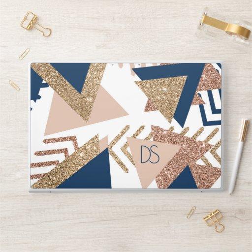 Trendy 90s Abstract | Navy Blue Rose Gold Monogram HP Laptop Skin