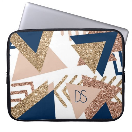 Trendy 90s Abstract | Navy Blue Rose Gold Monogram Laptop Sleeve