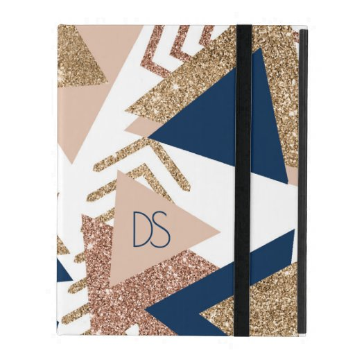 Trendy 90s Pattern | Navy Blue Rose Gold Monogram iPad Case