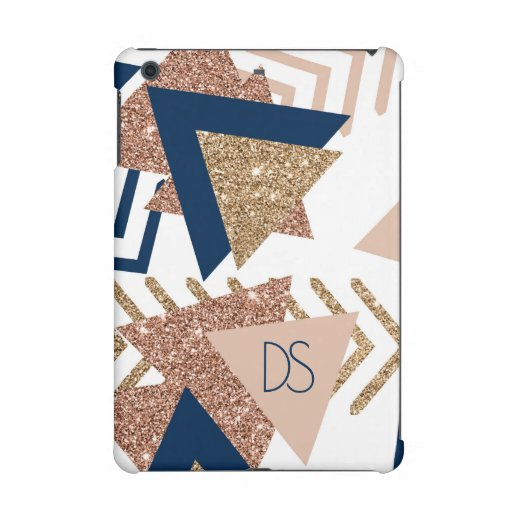 Trendy 90s Pattern | Navy Blue Rose Gold Monogram iPad Mini Case
