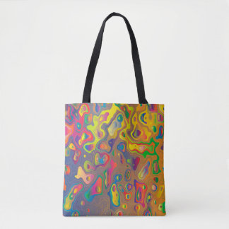 Trendy Abstract Colorful Contour Map Tote Bag
