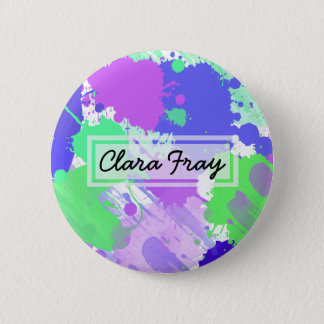 trendy abstract colorful neon brushstrokes pinback button