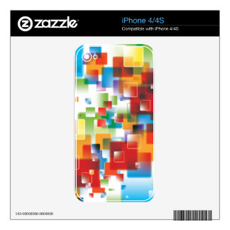 Trendy Abstract Colorful Squares Decal For The iPhone 4S