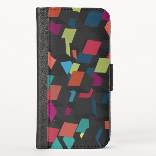 Trendy Abstract Geometric Cube Pattern iPhone Wall iPhone X Wallet Case