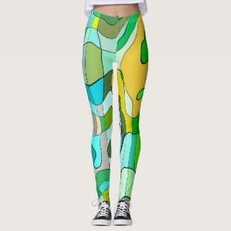 Trendy Abstract Green Contour Background Leggings