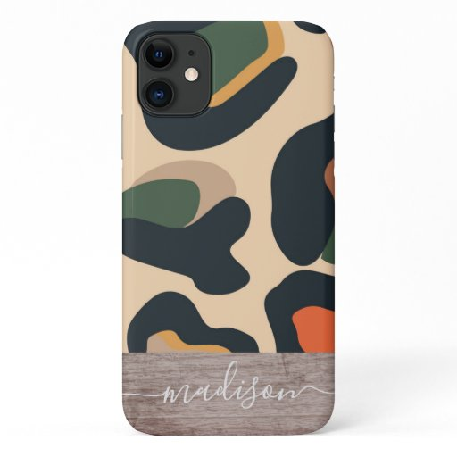 Trendy Abstract Leopard Print Wood Script Name iPhone 11 Case