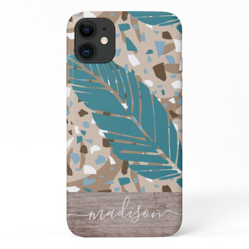 Trendy Abstract Terrazzo Leaf Wood Script Name iPhone 11 Case