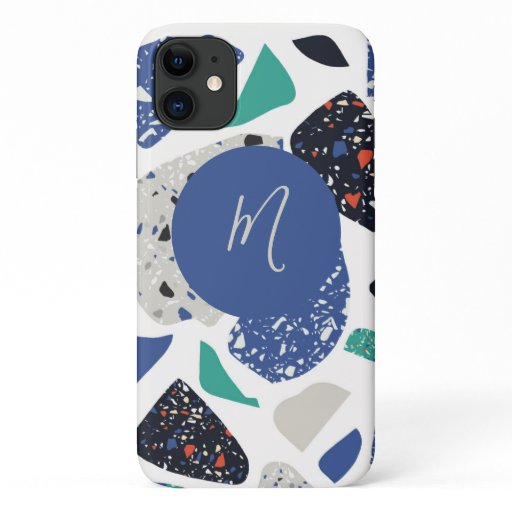 Trendy Abstract Terrazzo Mosaic Script Monogram iPhone 11 Case