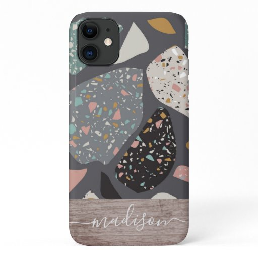 Trendy Abstract Terrazzo Mosaic Wood Script Name iPhone 11 Case