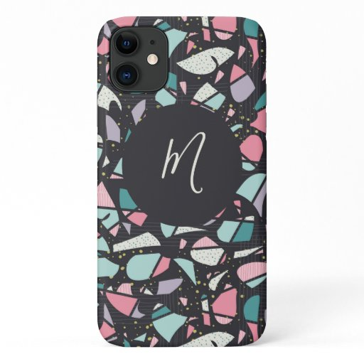 Trendy Abstract Terrazzo Script Monogram iPhone 11 Case