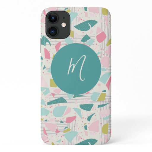 Trendy Abstract Terrazzo Wood Script Monogram iPhone 11 Case