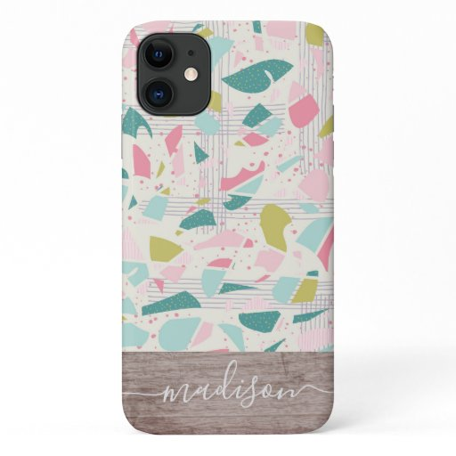 Trendy Abstract Terrazzo Wood Script Name iPhone 11 Case