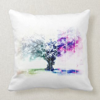Trendy Abstract Tree of Colors Throw Pillow