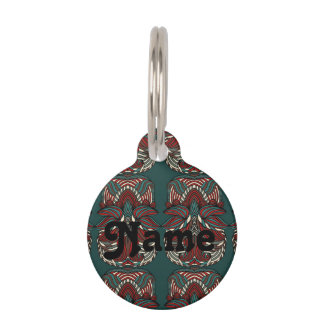 Trendy abstract tribal pattern.  Red and green. Pet Name Tag