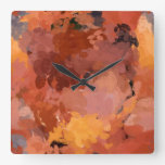 Trendy Abstract Watercolor Art Warm Colors Square Wall Clock