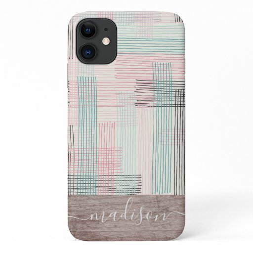 Trendy Abstract Wood Script Name iPhone 11 Case
