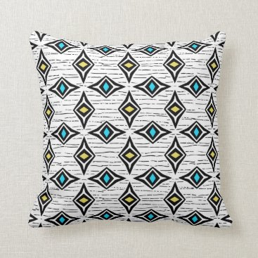 Aztec Themed Trendy abstract yellow blue sapphire gemstones throw pillow