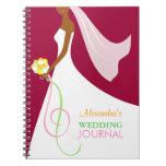 Trendy African American Bride's Wedding Journal Spiral Note Book