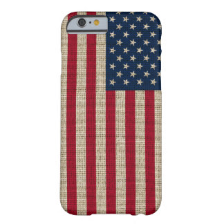 Trendy America Flag Burlap Texture Barely There iPhone 6 Case