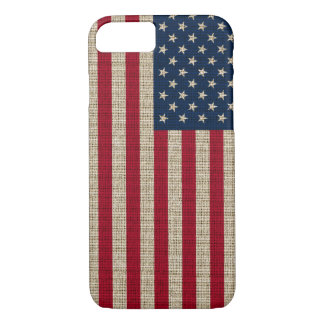 Trendy America Flag Burlap Texture iPhone 8/7 Case