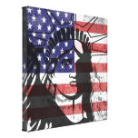 Trendy American Flag Statue Of Liberty Wall Art Stretched Canvas Print