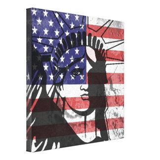 Trendy American Flag Statue Of Liberty Wall Art Canvas Print