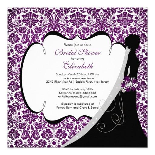 Trendy Amethyst Damask Bride Bridal Shower Invite