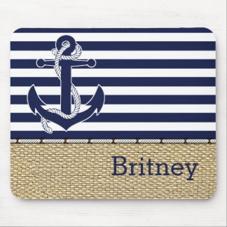 Trendy Anchor Stripes Pattern Faux Jute Textile Mouse Pad