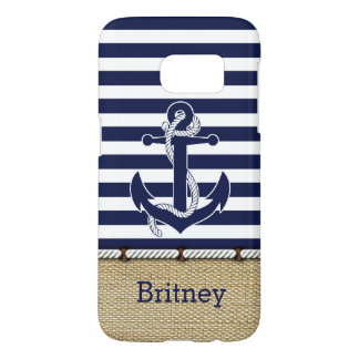Trendy Anchor Stripes Pattern Faux Jute Textile Samsung Galaxy S7 Case