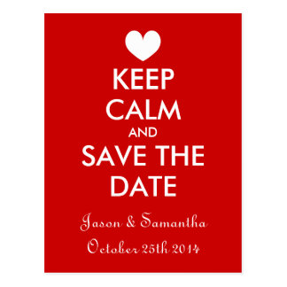 Trendy and fun keep calm save the date postcards
