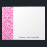 "Trendy and Girly Personalized Pink Damask Notepad<br><div class=""desc"">Pretty Personalized Pink Damask Notepad for Her</div>"