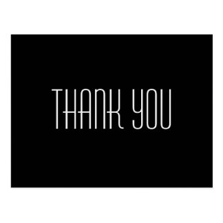 Trendy and Inexpensive Black Thank You Postcard