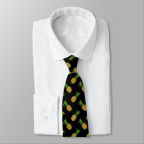 Trendy Angled Pineapple Pattern on Black Tie