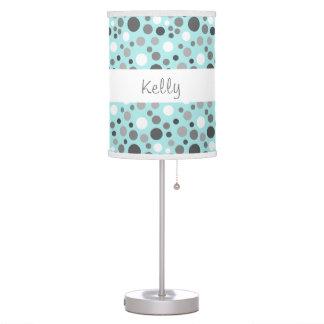 Trendy Aqua and Gray Polka Dots Custom Name A04 Desk Lamp
