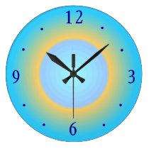 Trendy Aqua Blue Yellow> Modern Wall Clock