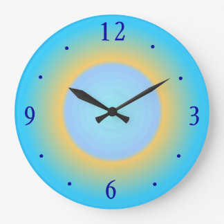 Trendy Aqua Blue Yellow> Modern Wall Clock
