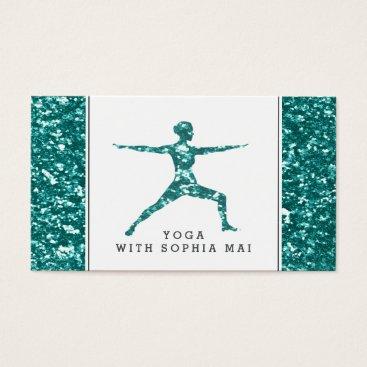 Professional Business Trendy Aqua Glitter Effect Yoga Instructor Business Card