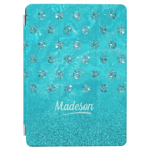 Trendy aqua imitation rhinestone and glitter desig iPad air cover