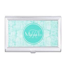 Trendy Aqua Mint Crackle Pattern With Monogram Business Card Case