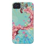 Trendy aqua pink ocean swirls iphone 4 case